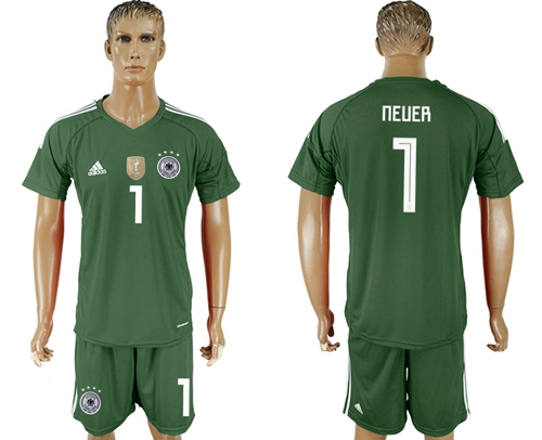 Germany #1 Neuer Army Green Goalkeeper Soccer Country Jersey
