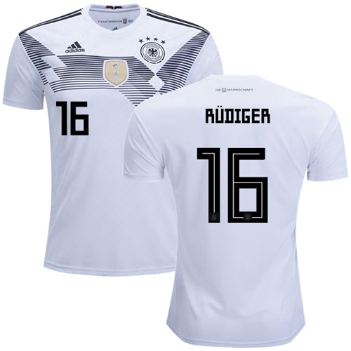 Germany #16 Rudiger White Home Soccer Country Jersey