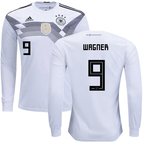 Germany #9 Wagner White Home Long Sleeves Soccer Country Jersey