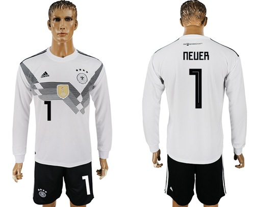 Germany #1 Neuer White Home Long Sleeves Soccer Country Jersey