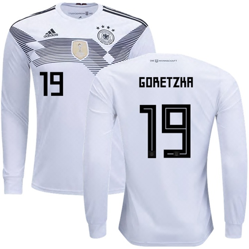 Germany #19 Goretzka White Home Long Sleeves Soccer Country Jersey
