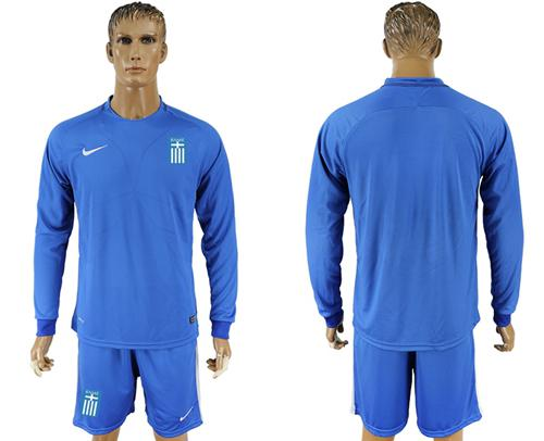 Greece Blank Away Long Sleeves Soccer Country Jersey