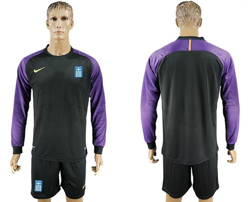 Greece Blank Black Goalkeeper Long Sleeves Soccer Country Jersey