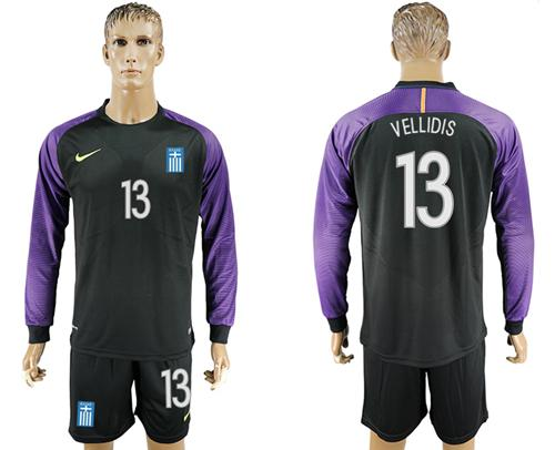 Greece #13 Vellidis Black Goalkeeper Long Sleeves Soccer Country Jersey