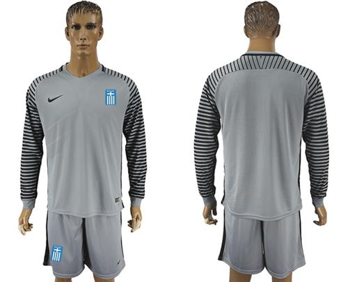 Greece Blank Grey Goalkeeper Long Sleeves Soccer Country Jersey