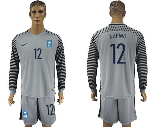 Greece #12 Kapino Grey Goalkeeper Long Sleeves Soccer Country Jersey