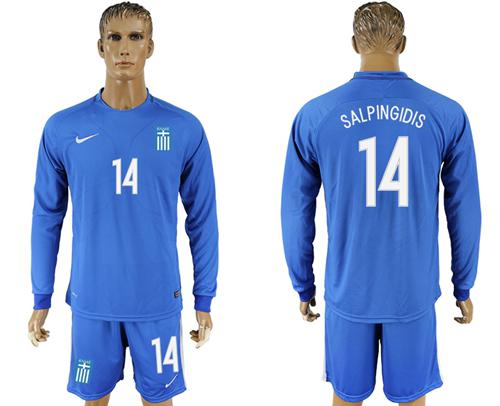 Greece #14 Salpingidis Away Long Sleeves Soccer Country Jersey