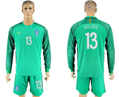 Greece #13 Vellidis Green Goalkeeper Long Sleeves Soccer Country Jersey
