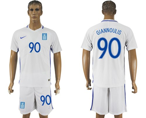 Greece #90 Giannoulis Home Soccer Country Jersey
