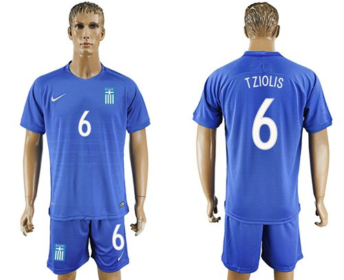 Greece #6 Tziolis Away Soccer Country Jersey