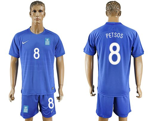 Greece #8 Petsos Away Soccer Country Jersey