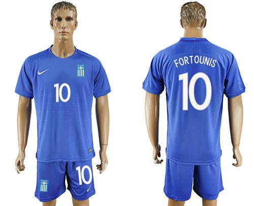Greece #10 Fortounis Away Soccer Country Jersey
