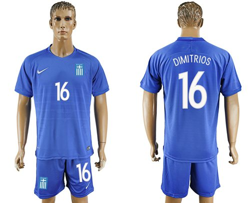 Greece #16 Dimitrios Away Soccer Country Jersey