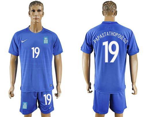 Greece #19 Papastathopoulos Away Soccer Country Jersey