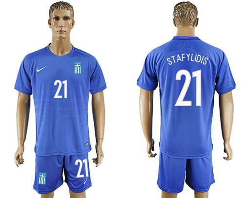 Greece #21 Stafylidis Away Soccer Country Jersey