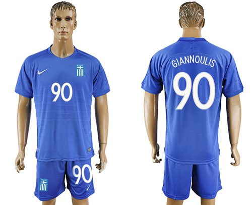 Greece #90 Giannoulis Away Soccer Country Jersey