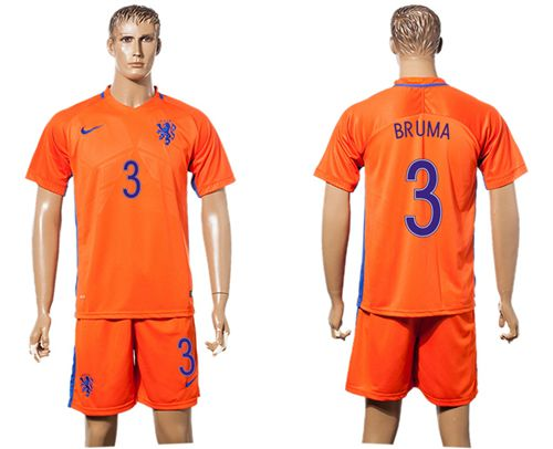 Holland #3 Bruma Home Soccer Country Jersey