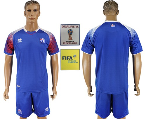 Iceland Blank Home Soccer Country Jersey