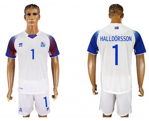 Iceland #1 Halldorsson Away Soccer Country Jersey