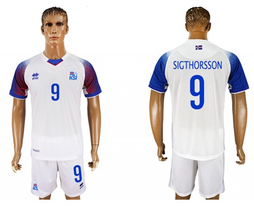 Iceland #9 Sigthorsson Away Soccer Country Jersey
