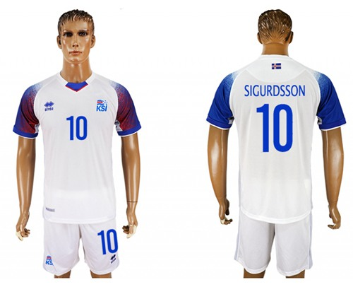Iceland #10 Sigurdsson Away Soccer Country Jersey