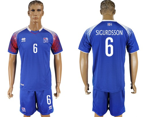Iceland #6 Sigurdsson Home Soccer Country Jersey