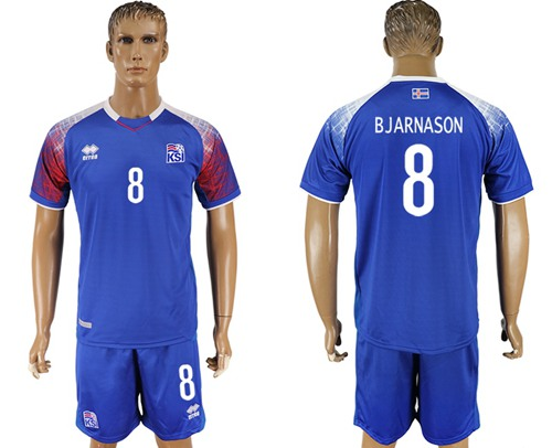 Iceland #8 Bjarnason Home Soccer Country Jersey