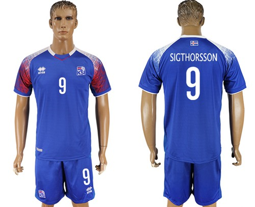 Iceland #9 Sigthorsson Home Soccer Country Jersey