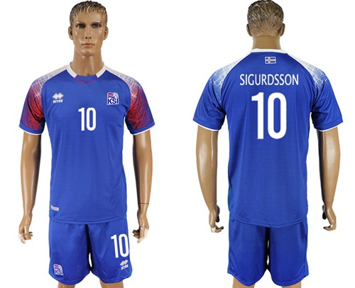 Iceland #10 Sigurdsson Home Soccer Country Jersey