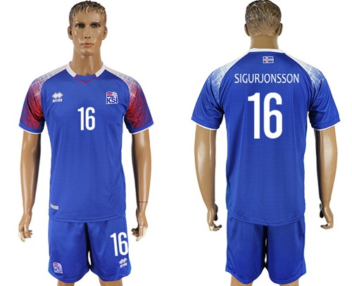 Iceland #16 Sigurjonsson Home Soccer Country Jersey