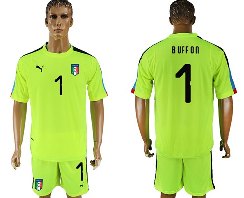 Italy #1 Buffon Shiny Green Goalkeeper Soccer Country Jersey