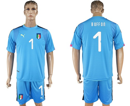 Italy #1 Buffon Blue Goalkeeper Soccer Country Jersey