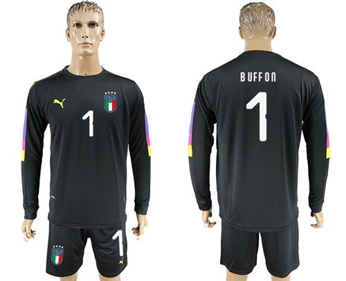 Italy #1 Buffon Black Long Sleeves Goalkeeper Soccer Country Jersey