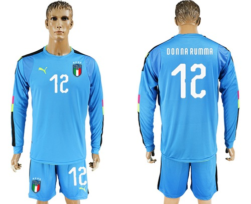 Italy #12 Donna Rumma Blue Long Sleeves Goalkeeper Soccer Country Jersey