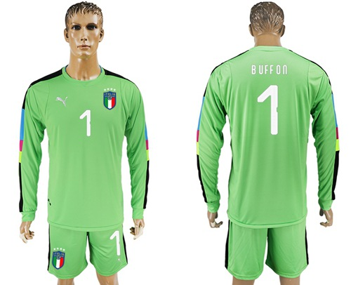 Italy #1 Buffon Green Long Sleeves Goalkeeper Soccer Country Jersey