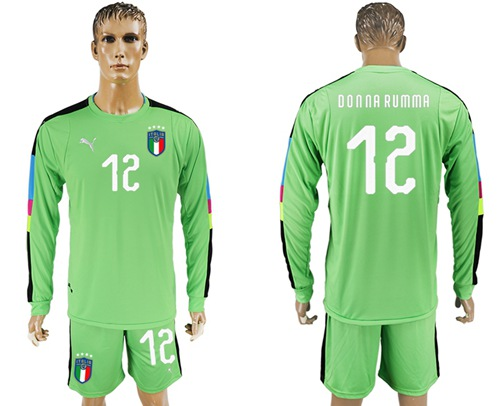 Italy #12 Donna Rumma Green Long Sleeves Goalkeeper Soccer Country Jersey