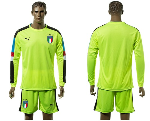 Italy Blank Shiny Green Long Sleeves Goalkeeper Soccer Country Jersey