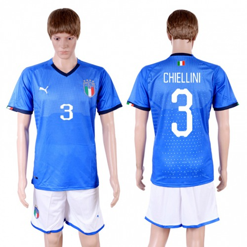Italy #3 Chiellini Home Soccer Country Jersey