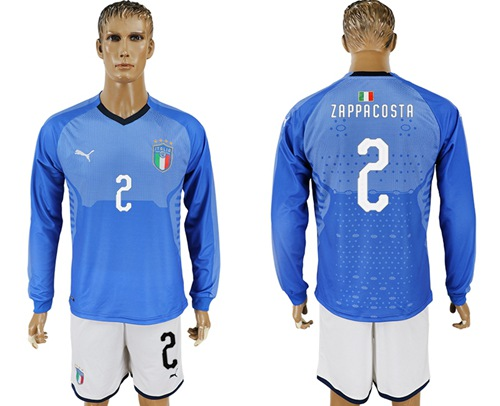 Italy #2 Zappacosta Blue Home Long Sleeves Soccer Country Jersey