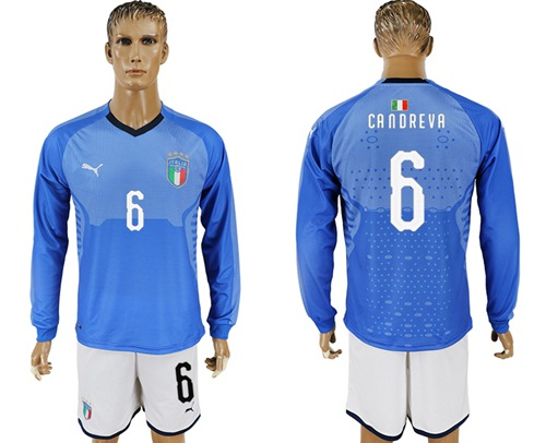 Italy #6 Candreva Blue Home Long Sleeves Soccer Country Jersey