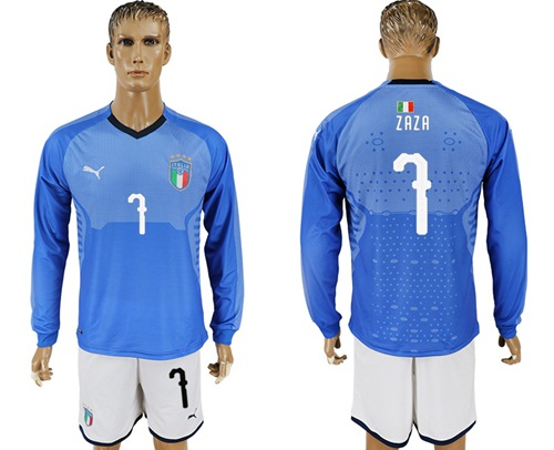 Italy #7 Zaza Blue Home Long Sleeves Soccer Country Jersey