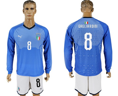 Italy #8 Gagliardini Blue Home Long Sleeves Soccer Country Jersey