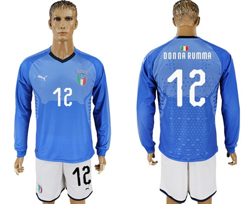 Italy #12 Donna Rumma Blue Home Long Sleeves Soccer Country Jersey