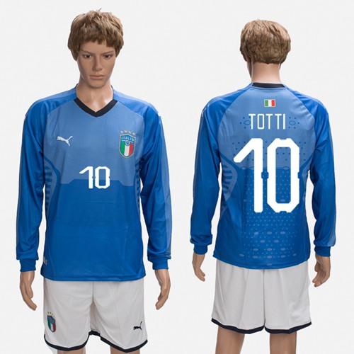 Italy #10 Totti Blue Home Long Sleeves Soccer Country Jersey