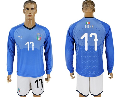 Italy #17 EDER Blue Home Long Sleeves Soccer Country Jersey