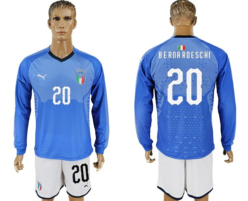 Italy #20 Berna Rdeschi Blue Home Long Sleeves Soccer Country Jersey