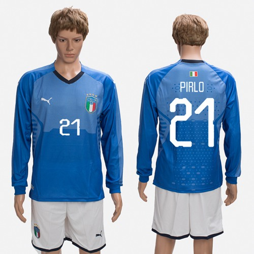 Italy #21 Pirlo Blue Home Long Sleeves Soccer Country Jersey