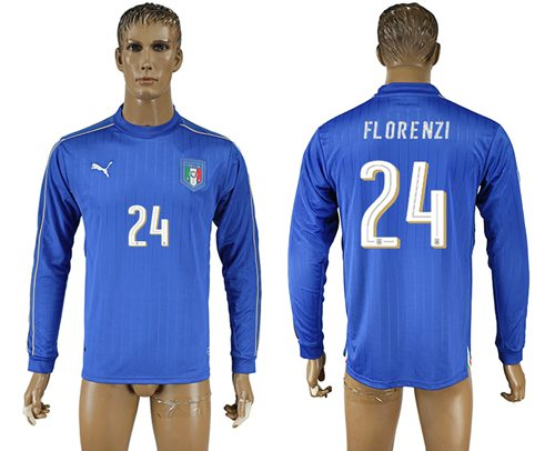 Italy #24 Florenzi Blue Home Long Sleeves Soccer Country Jersey