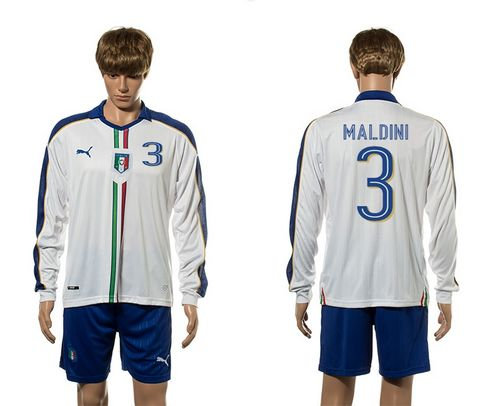Italy #3 Maldini White Away Long Sleeves Soccer Country Jersey