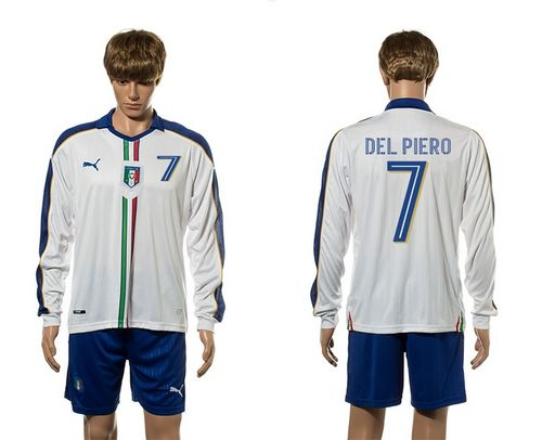 Italy #7 Del Piero White Away Long Sleeves Soccer Country Jersey